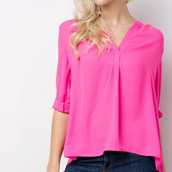 1f61674077ec66 MittoShop Tops | Hot Pink Chiffon High Low Career Blouse 34 Sleeve ...